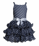 Bonnie Jean Navy Sleeveless Dotted Chiffon Dress