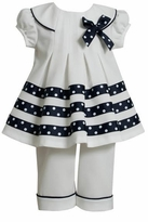 Bonnie Jean Navy Stripe White Dot Sailor Pant Set
