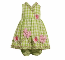Bonnie Jean Newborn Lime Butterfly Dress Seersucker  - 24 MONTH