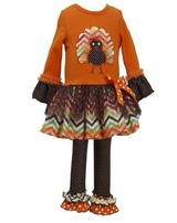 Bonnie Jean Orange Chevron Skirt Turkey Legging set