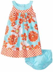 Bonnie Jean Orange Dot Floral Sundress