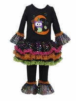 Bonnie Jean Owl in the Moon Black Legging Set