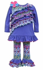 Bonnie Jean Little Girls Periwinkle Tribal Print Ruffle Legging Set