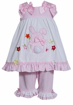 Bonnie Jean Pink Bunny Applique Girl's Seersucker Capri Set