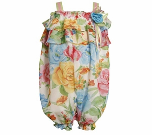Bonnie Jean Easter Floral Dressy Coverall