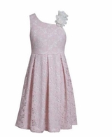 Bonnie Jean Pink One Shoulder Lace Dress
