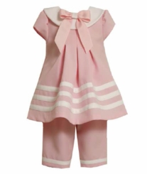 Bonnie Jean - Pink Sailor Capri Set