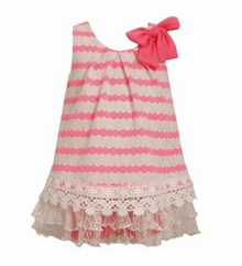 Bonnie Jean 2T - 6X Pink Stripe Lace Hem Dress  FINAL SALE