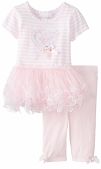 Bonnie Jean Pink Striped Heart Applique Tulle Tutu Legging Set