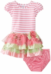 Bonnie Jean Pink Striped Ribbon Hem Tiered Dress SALE