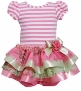 Bonnie Jean Pink Striped Ribbon Hem Tiered Dress