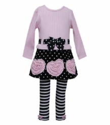 Bonnie Jean Polka Dot Skirt Ruched Heart Legging Set