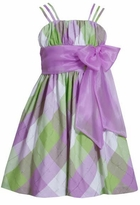 Bonnie Jean Purple Plaid Large Bow Easter Dress