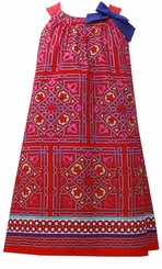 Girls 4-6X Sundress Bonnie Jean Red Border Print
