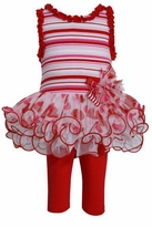 Bonnie Jean Red Striped Bodice Tulle Tutu Legging Set