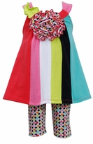 Bonnie Jean Retro Colorblock Tunic Polka Dot Capri Set