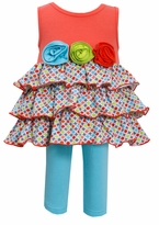 Bonnie Jean Retro Multi Colored Triple Rosette Tiered Capri Set