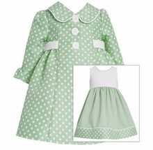 Bonnie Jean Sage Polka Dot Dress and Coat Set - SOLD OUT