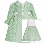 Bonnie Jean Sage Polka Dot Dress and Coat Set