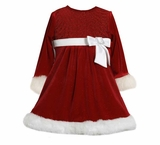 Bonnie Jean Sequin Bodice Santa Dress Fur Trim