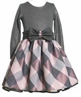 Bonnie Jean Shimmer Plaid Party Dress