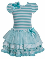 Bonnie Jean Short Sleeve Striped Tiered Party Dress