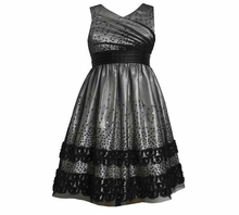 Bonnie Jean Silver Sleeveless Black Mesh Overlay Dress SIZE 7 LAST ONE