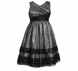 Bonnie Jean Silver Sleeveless Black Mesh Overlay Dress