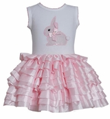 Bonnie Jean Sleeveless Bunny Applique Pink Eyelash Tutu Dress