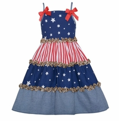 Bonnie Jean Tiered Stars and Stripes Patriotic Sundress 4 - 6 FINAL SALE