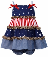Bonnie Jean Tiered Stars and Stripes Patriotic Sundress