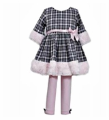 Bonnie Jean Toddler Fur Trimmed Tunic and Pant Set