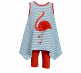 Bonnie Jean Toddler Girl's Striped Hanky Flamingo Dress with Capri