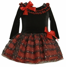 Bonnie Jean Toddler Girls Black Velvet Party Dress