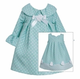 Bonnie Jean Toddler Girls Coat Dress Aqua Dot