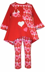 Bonnie Jean Toddler or Girls Valentine's Day Heart Tunic Set