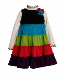 Bonnie Jean Toddler Tiered Colorblock Dress