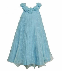 Bonnie Jean - Turquoise Dot Pleated Dress