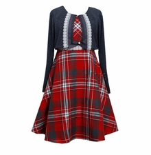 Bonnie Jean Girls 7-16 Plaid Dress With Shrug