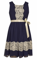 Bonnie Jean Tween Girls Chiffon Navy Lace Trimmed Dress
