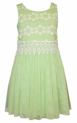 Bonnie Jean Tween Girls Lime Lace Tulle Dress