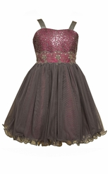 Bonnie Jean Big Girls Magenta Sequin Bodice Party Dress