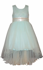 Bonnie Jean Tween Girls Mint Mesh Hi-low Dress