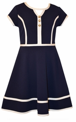 Bonnie Jean Tween Girls Navy Textured Solid Knit Nautical Dress
