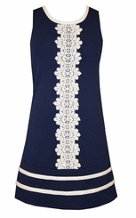 Bonnie Jean Tween Girls Venise Paneled Front Navy Dress