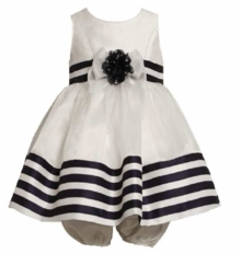 Bonnie Jean - White Navy Stripe Shantung Dress  FINAL SALE