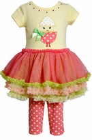 Girls Easter Chick Pettitunic and Legging Set :  Yellow Chick
