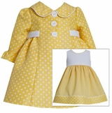 Baby or Toddler Girls Easter Coat Dress : Yellow Dot Dress with Jacket