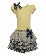 Bonnie Jean Yellow Drop Waist Tiered Dress