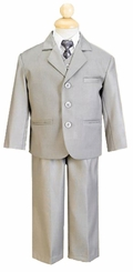 Boy's 5 Piece Taupe Heather Suit with Shirt, Vest, and Tie